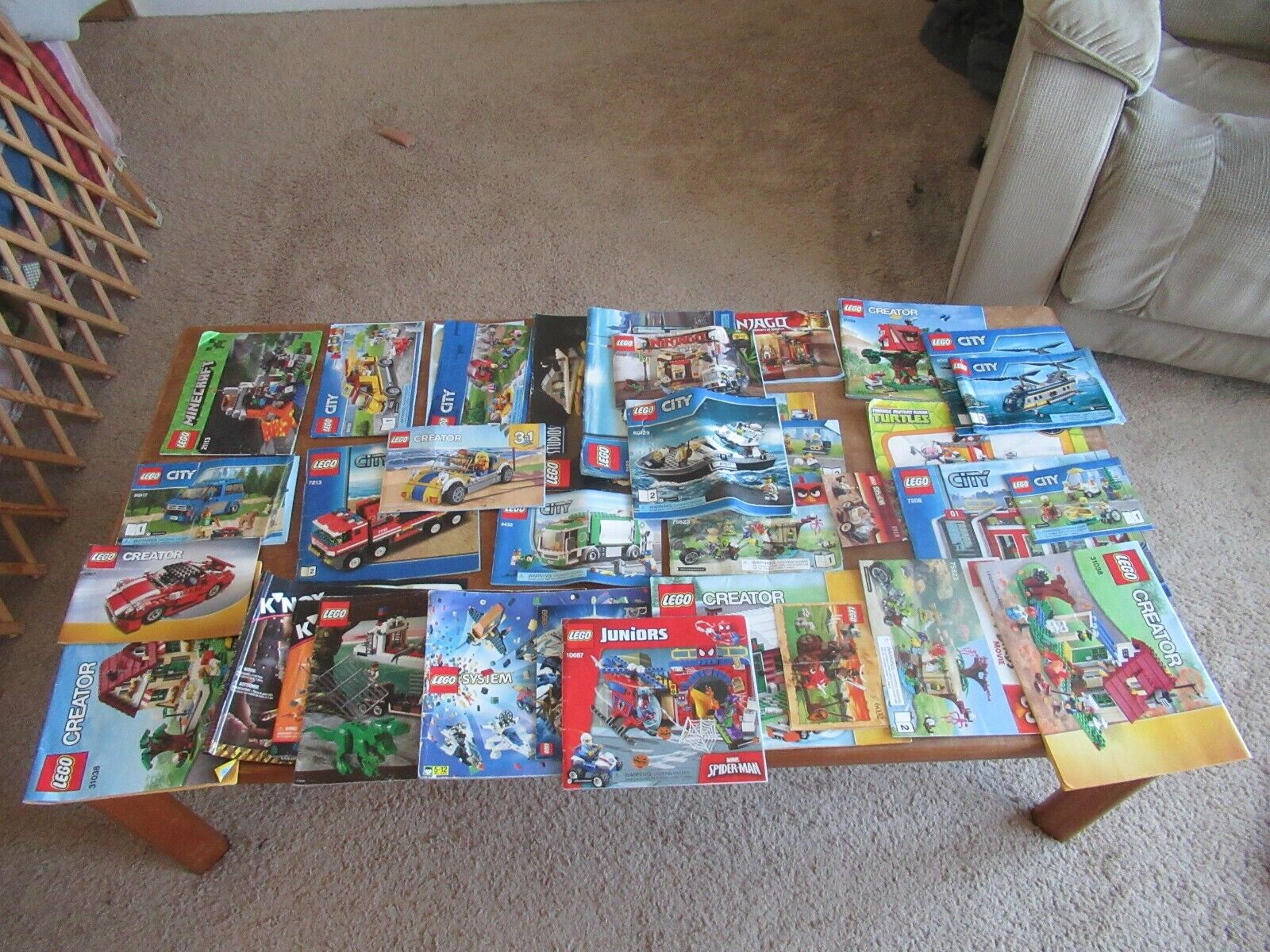 HUGE LOT OF 34 LEGO INSTRUCTIONS MANUALS ALL COMPLETE MINECRAFT SPIDERMAN & MORE