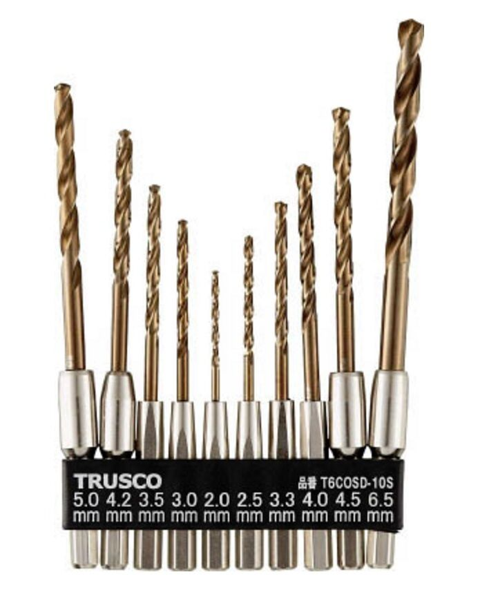 TRUSCO   HEXAGONAL SHANK COBALT DRILL 10 Größe SET   T6COSD-10S
