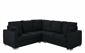Details about Modern Living Room Fabric Sectional Sofa, L Shape Couch w/  Pillows, Black