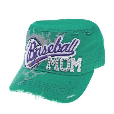 "/""Baseball Mom/"" Women Baseball Caps Hats w//Rhinestones Embroidered Mom4 ^*"