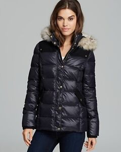 Juicy Couture Women&amp039s Faux Fur Collar Hooded Long Down Puffer