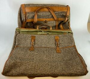 Hartmann-Vintage-Tweed-amp-Leather-Duffel-Travel-Luggage-Bag-Carry-On-w-Hardware