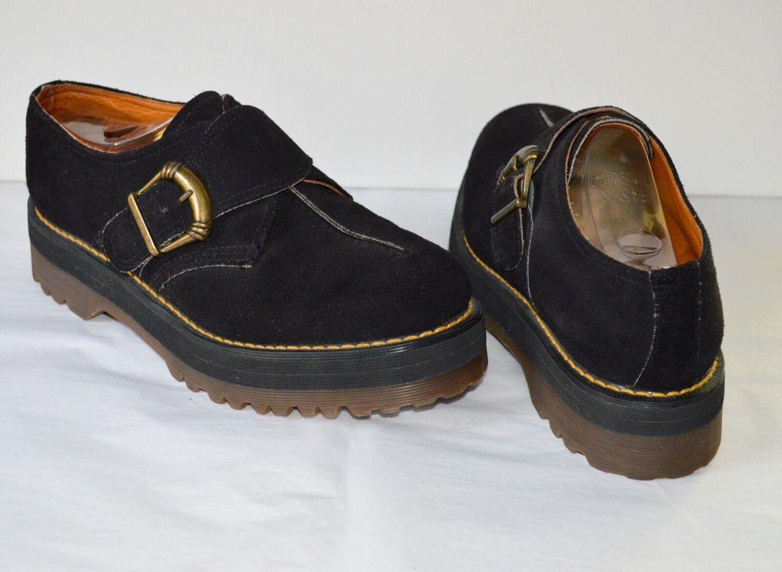 Vintage 90's Doc Martens Dr Black Suede Platform Shoes Made in England US 9
