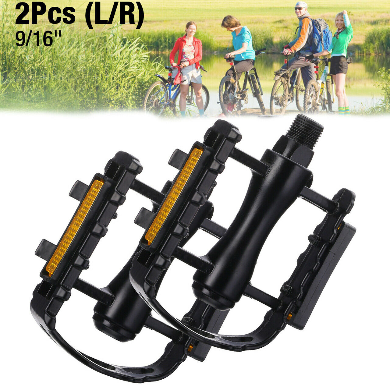 "9//16/"" Bike Pedals Aluminum Alloy Mountain Road Bicycle Flat Platform MTB Cycling"