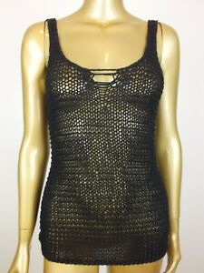 COTTON-ON-BLACK-OPEN-CROCHET-KNIT-TANK-CAMI-SINGLET-TOP-BLOUSE-SHIRT-XS