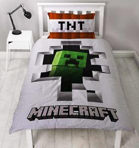 Minecraft 'Dinamite' Singolo Pannello Copripiumino Reversibile Set di biancheria da letto