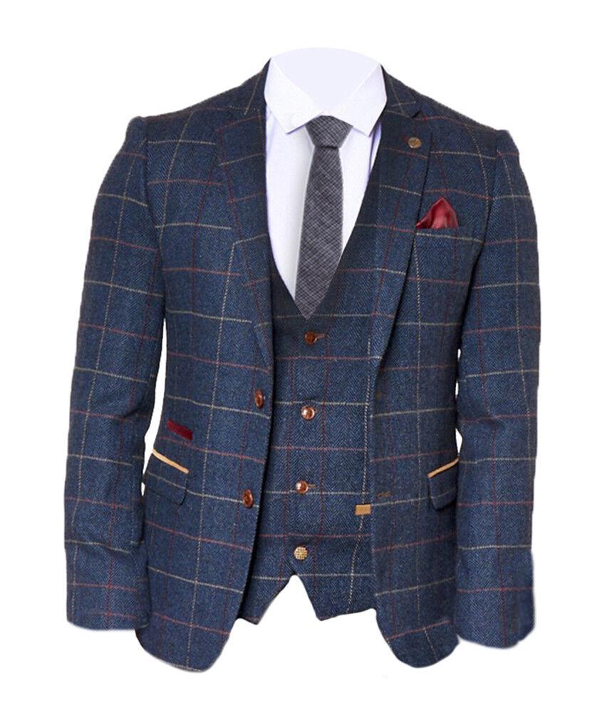 Herren Marc Darcy Kariert Vintage Wolle Look Mode Blazer - Eton Marineblau