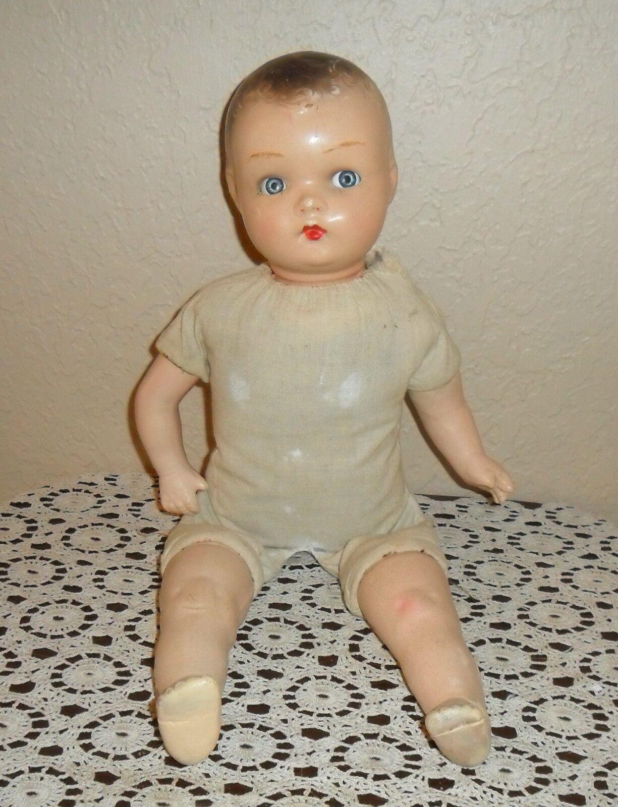 Antiguo, Firmado, Una Muñeca Horsman, Baby Mama Cryer ojos azules en movimiento