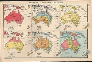 Political Map Of New Zealand.Details About 1936 Map Australia New Zealand Temperature Rainfall Population Political Div