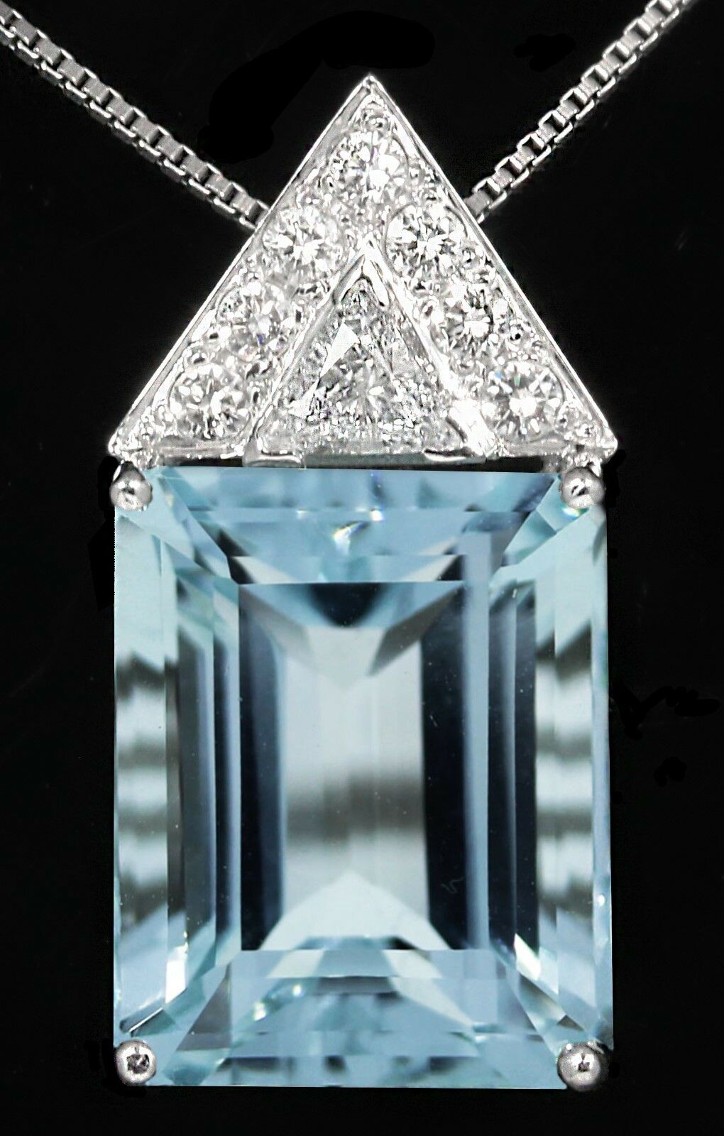 Natural Santa Maria Aquamarine Emerald Cut with Big Diamonds 14k White gold