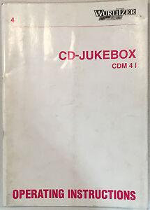 JUKEBOX MANUAL WURLITZER CD JUKEBOX CDM4 i OPERATING INSTRUCTIONS
