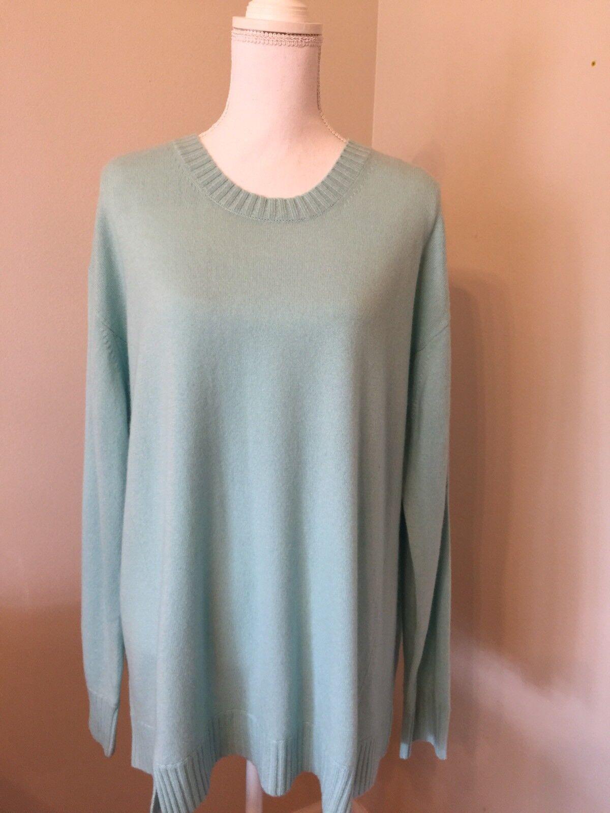 J Crew Collection Italian Cashmere Side-panel Sweater Sz Xl Aqua bluee B8552 NWT