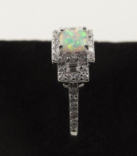 Princesse de Lune Blanc Opale de feu avec Clear Cz Sterling Silver Ring
