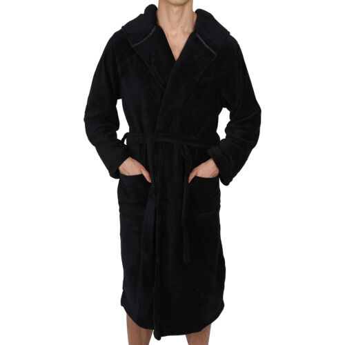 ROBE Coral Fleece Mens-Bathrobe Hooded USA Seller SUPER SOFT Heavy Weight