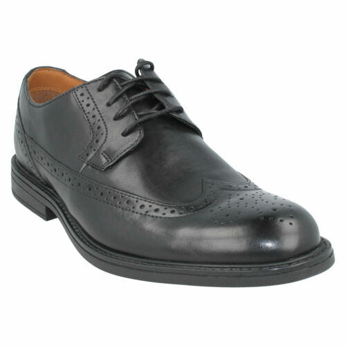 Clarks Talla Cuero Para Cordones Trabajo Formal De Zapatos Derby Brogue Hombre xqqnIwC