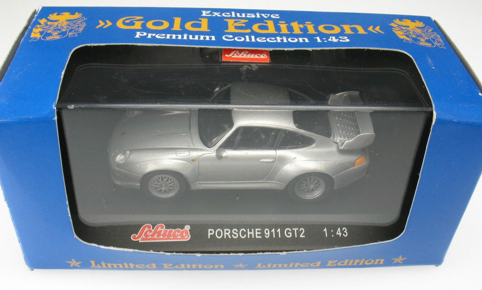 Schuco-PORSCHE 911 gt2-argentoo metallizzato - 1 43 - nuovo in OPV-modello di auto