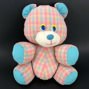 Vintage-Dan-Dee-Plush-Gingham-Bear-Stuffed-Animal-Toy-Puffalump-Pillow-Mushy-10-034