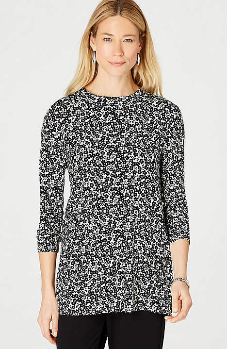 J. Jill - 4X(Plus) - The Wearever Collection  Gorgeous schwarz Floral Multi Tunic