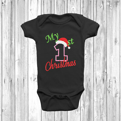 My First 1st Christmas Personalised Baby Grow Funny Penguin Body Suit Vest Xmas