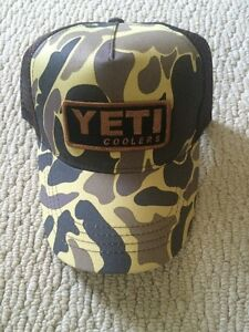 f9ee9725a48d6 YETI COOLERS TRADITIONAL TRUCKER HAT CAP OLD SCHOOL CAMO PATCH LOGO ...