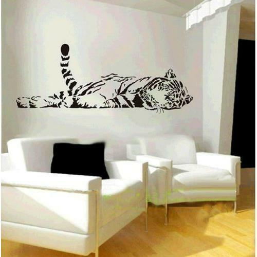 Animal Wild Zoo Lying Tail up Tiger Wall Decal Sticker Living Room Stickers