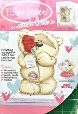 Fizzy Moon... with Love: Teddy Bear & Rose Greeting Card Cross Stitch Kit - NEW