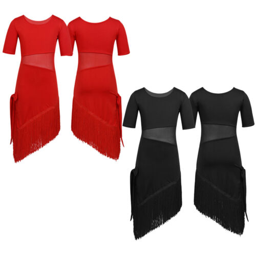 Girls Latin Dance Wear Sequins Tassel Dress Kids Salsa Rumba Competition Costume