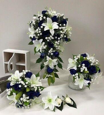 SILK WEDDING BOUQUET BLUE ORCHID ROSES TEARDROP CREAM WHITE ROSE ROSES FAKE SET