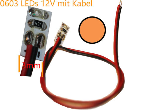 Cable 10 x 12v Mini SMD LED 0603 7 xfarben with vorwiderstaende
