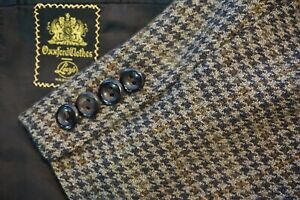 Oxxford-Clothes-Cashmere-Tweed-Brown-Orange-Houndstooth-Plaid-Sport-Coat-Sz-41R