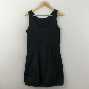 Decjuba-Womens-Dress-Size-12-Black-Straight-Sheath-Cotton-Stretch-Work