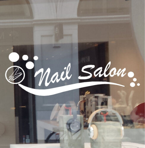 NAIL SALON VINYL DECAL STICKER BUSINESS SIGN MANICURE PEDICURE WINDOW WALL