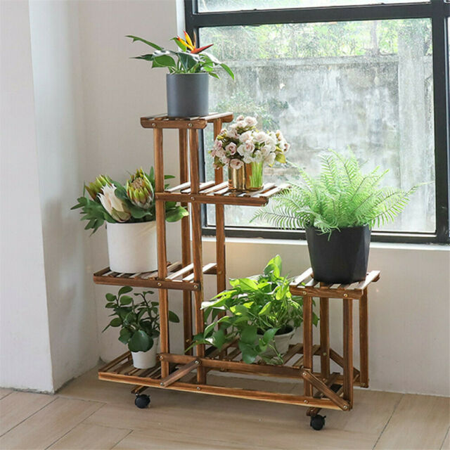 Rolling Wood Plant Stand Pot Herb Holder Shelf Bonsai Display Rack Garden Home For Sale Online