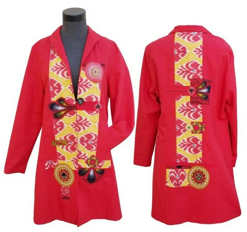 SOLVEIG LADIES LONG NON FITTED COAT  RED & YELLOW. SIZE LARGE
