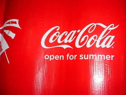 "Coca-Cola Bottle Cardboard Corrugated Banner Sign /""COCA COLA Open for Summer/"""