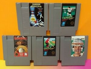 Bowling-Baseball-Tennis-Golf-Football-Nintendo-NES-Authentic-5-Game-Lot-Tested
