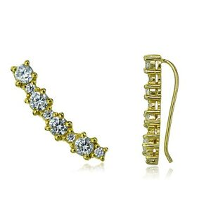 Gold-Tone-over-Sterling-Silver-Round-CZ-Curved-Crawler-Climber-Hook-Earrings