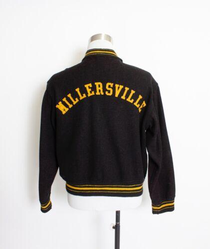 Vintage 1950s Letterman Jacket Wool Black Varsity
