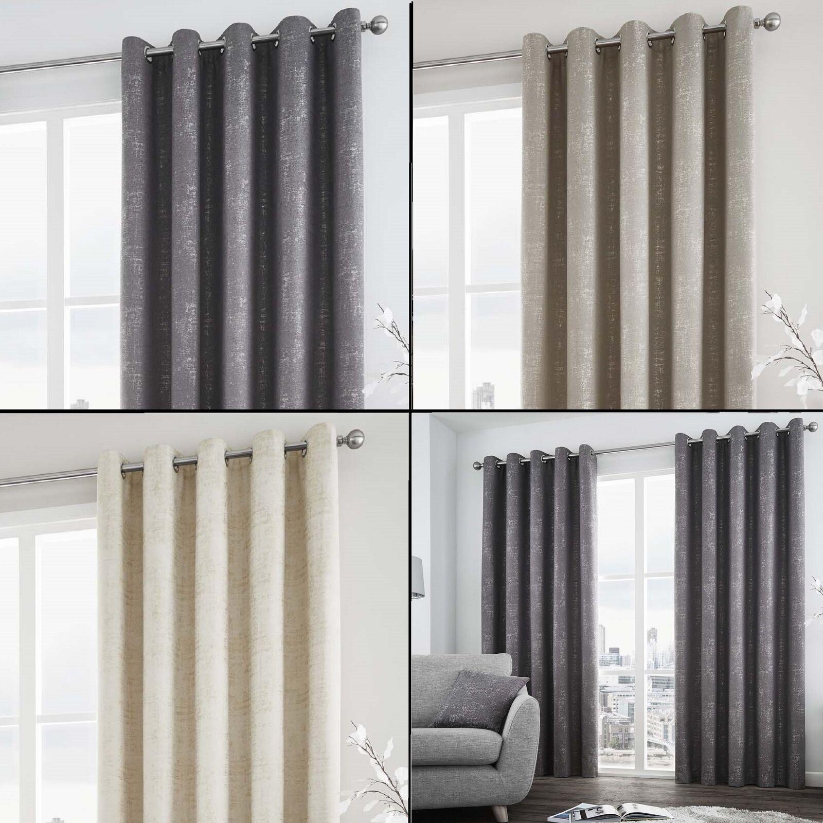 Cortinas DE ORIFICIOS FORRADAS Solent Con Tonos Metálico Plateado-gris Crema
