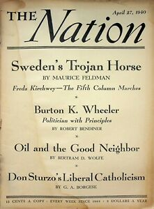 Vtg Orig. THE NATION Magazine April 27 1940 Sweden's Trojan Horse  m1327