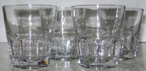 Set-s-4-Vtg-Anchor-Hocking-13-oz-Double-Rocks-Glasses-fluted-New-Orleans-Clear