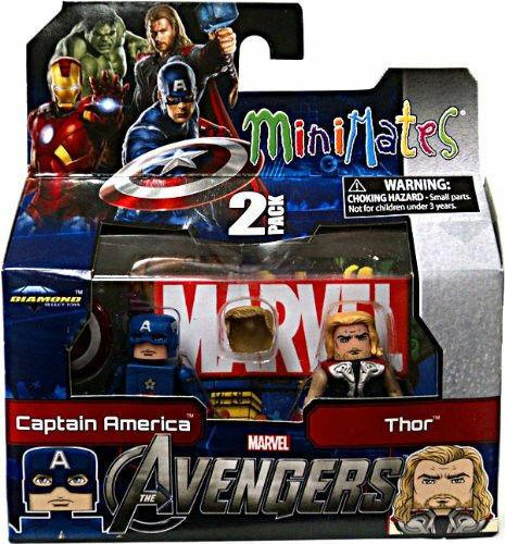 Marvel MINIMATES SERIE 45 AVENGERS MOVIE Mini cifra 2 PACK di Capitan America THOR