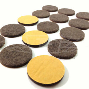 24mm SELF ADHESIVE FELT GLIDE ROUND PADS BROWN PROTECT LAMINATE FLOORS SCRATCHES