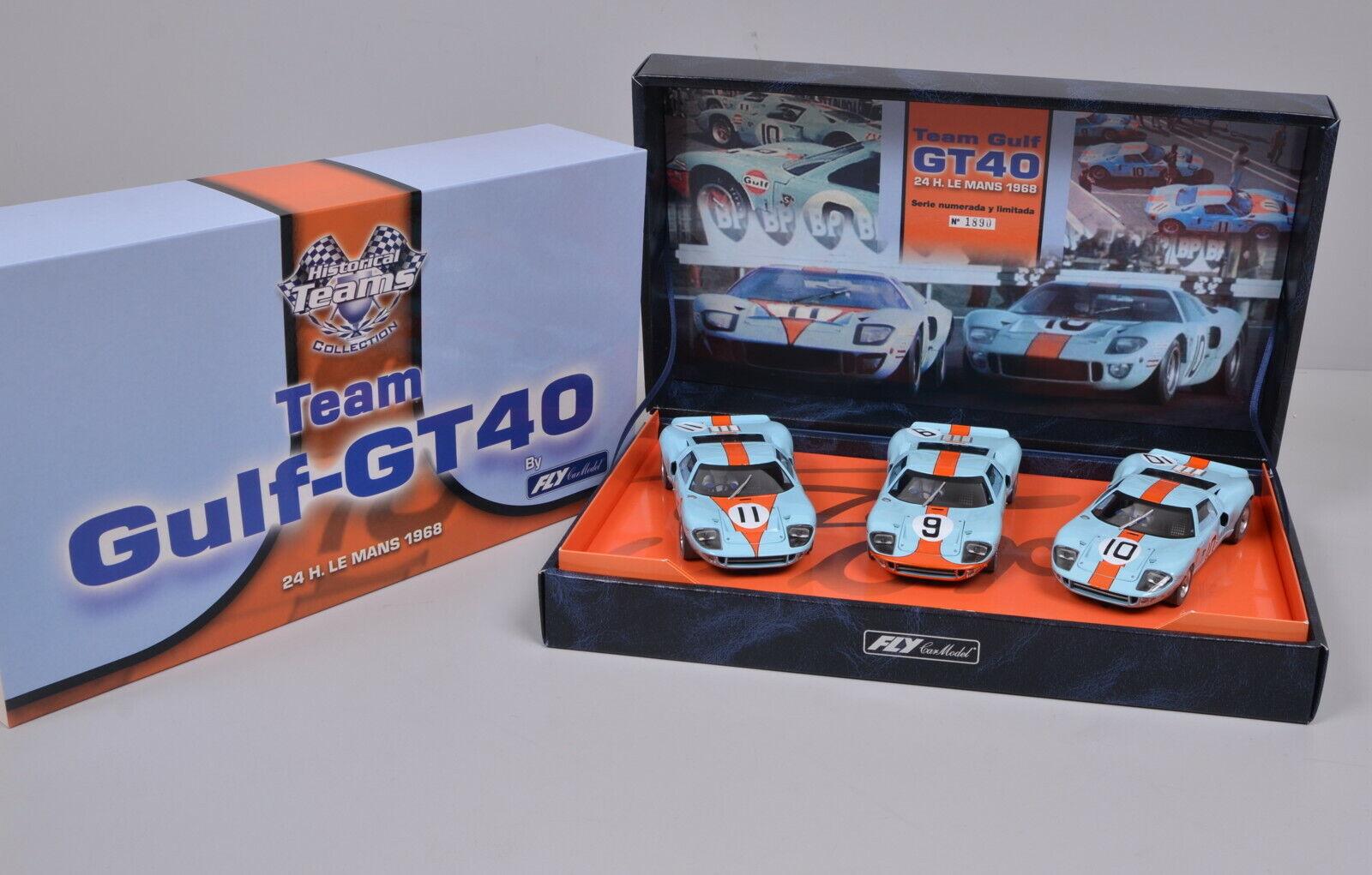 3 TLGフライ96016スロットカー歴史的なチームコレクションセット/ガルフgt 40 /未記録