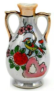 Vintage-Japanese-Ceramic-Hand-Painted-4-034-Vase-with-Bird-and-Flowers-Gold-Trim
