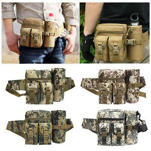 Men Pockets Waist Bag Tactical Military Hiking Travel Water Bottle Belt Pack Bag