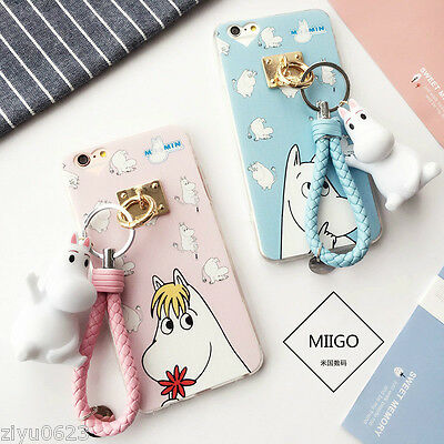 Cute Moomin Doll Strap Key Chain ShockProof Case Cover For iPhone 7 7 Plus 6 6s