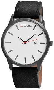 Qbos-Herrenuhr-Weiss-Schwarz-Analog-Datum-Metall-Kunst-Leder-Quarz-X2900175001