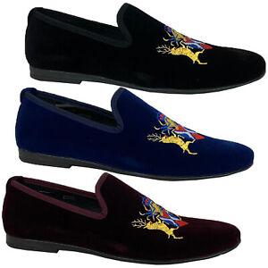 Mens-Italian-Velvet-Logo-Embroidery-Loafers-Shoes-Moccasin-Slip-On-Designer-New
