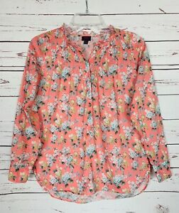 J-Crew-Liberty-Fabric-Women-039-s-Size-0-Coral-White-Floral-Button-Blouse-Shirt-Top